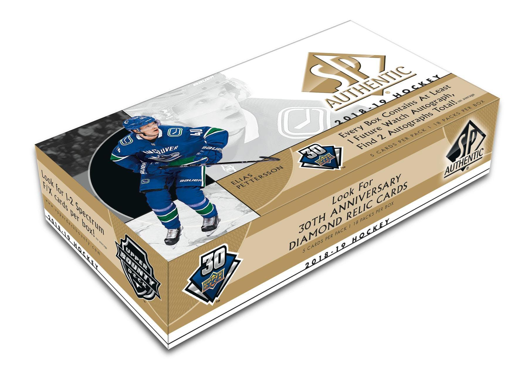 3d585b4c4 2018 19 Upper Deck SP Authentic Hockey Hobby Box (Presell)