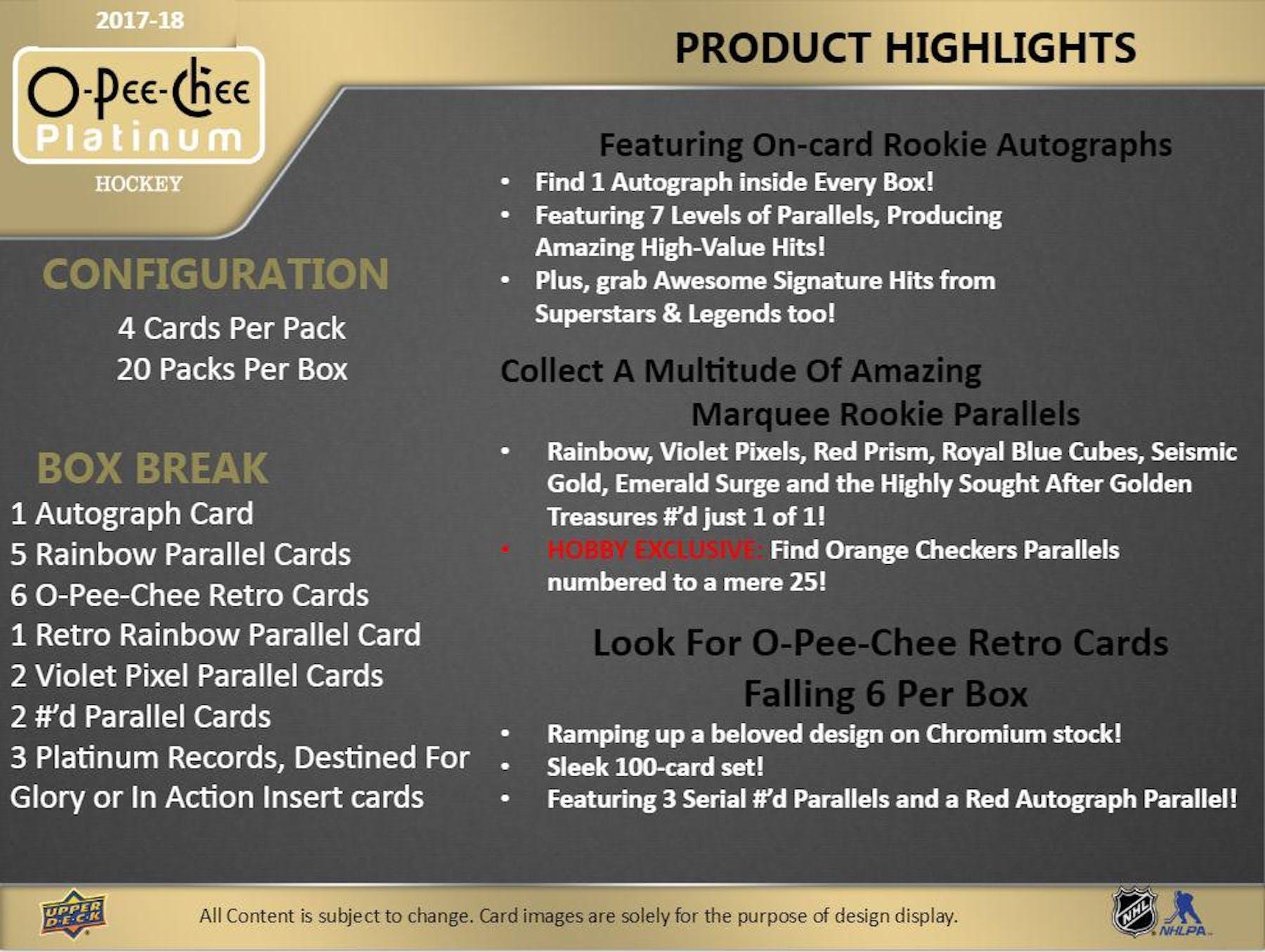 ... 2017 18 Upper Deck O-Pee-Chee Platinum Hockey Hobby Box ... ce7231cdb