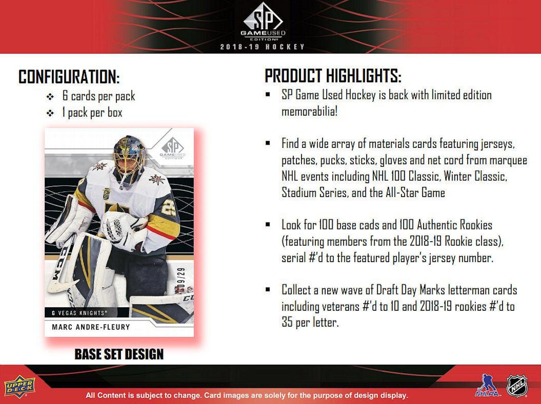 302df72ffe6 ... 2018 19 Upper Deck SP Game Used Hockey Hobby Box