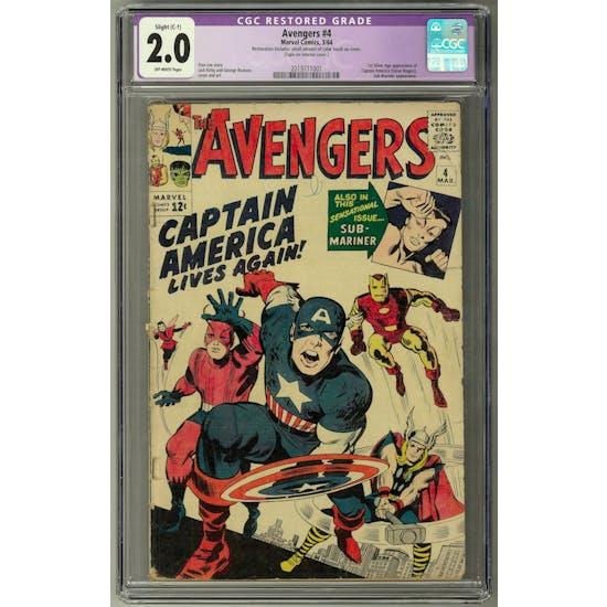 Avengers #4 CGC 2.0 (OW) Restored C-1 *2019711001*