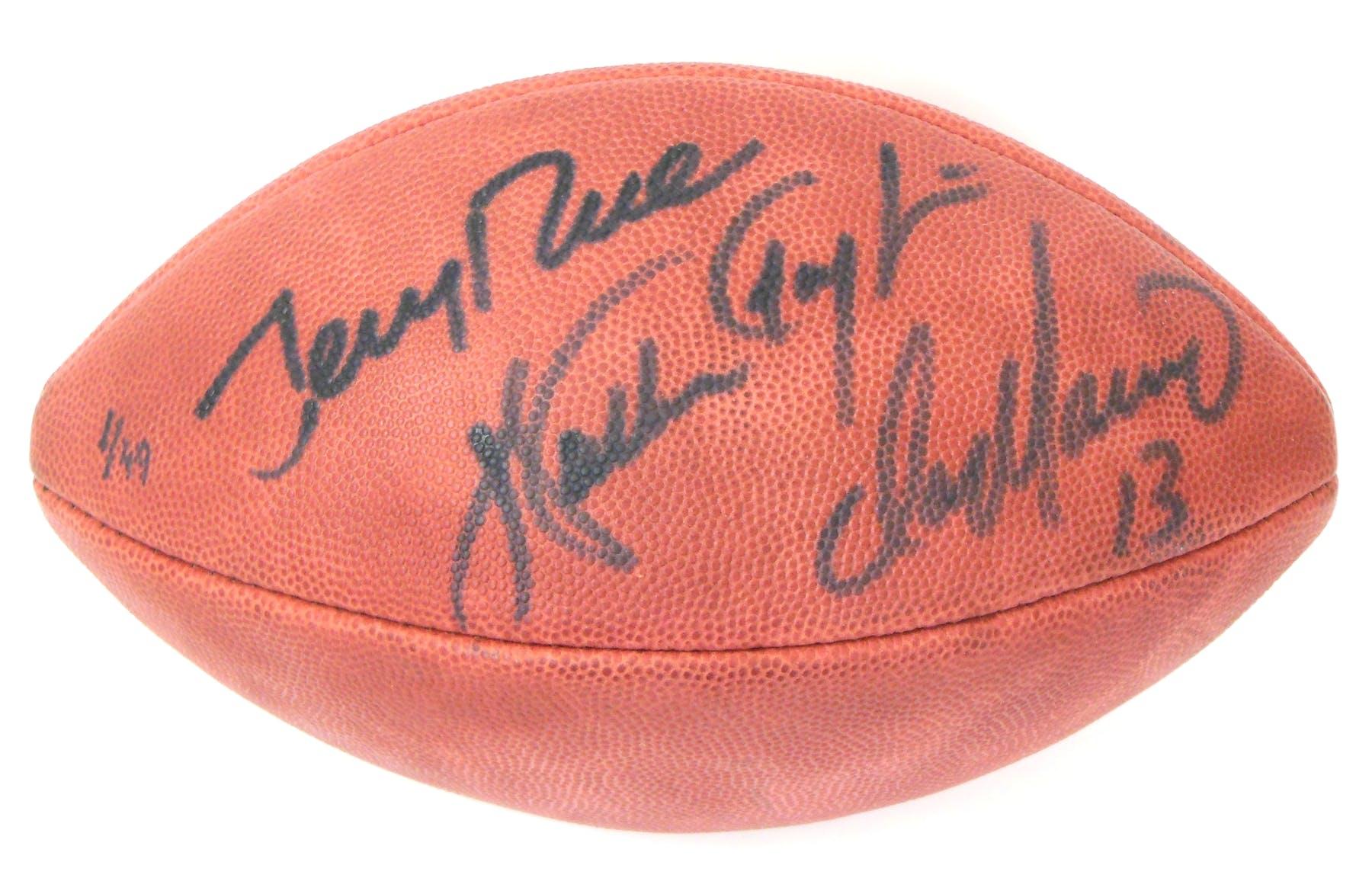 Walter Payton   Dan Marino   Jerry Rice Autographed Wilson Football ... 7e97f946f