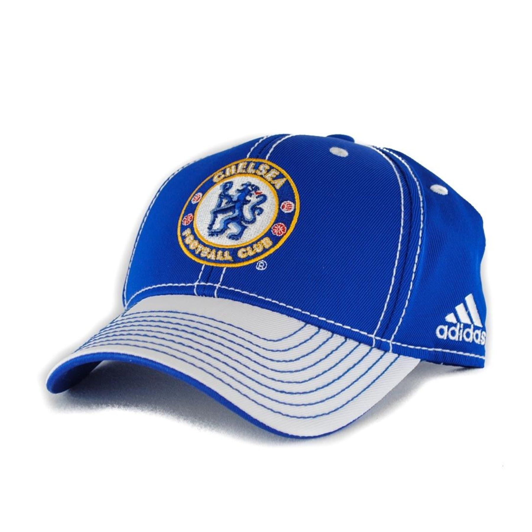 Chelsea Football Club Adidas Pro Shape Blue White Fitted Hat  52fb48cad2f