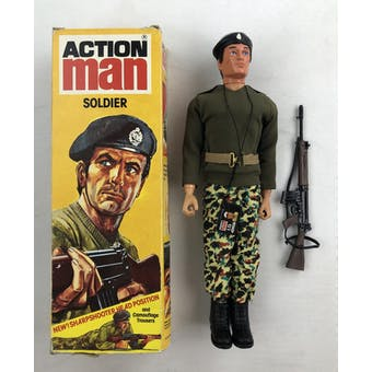 Action Man Soldier Figure with Uniform in Original Yellow Box