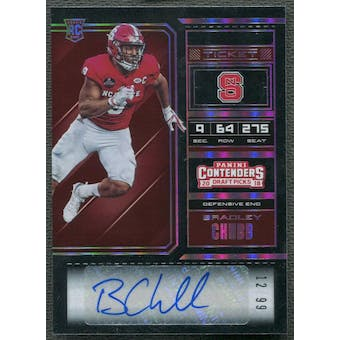 2018 Panini Contenders Draft Picks #172 Bradley Chubb Bowl Ticket Rookie Auto #12/99