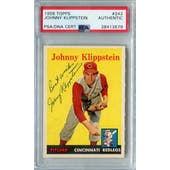 1958 Topps Baseball #242 Johnny Klippstein PSA/DNA Authentic Signed Auto *3579