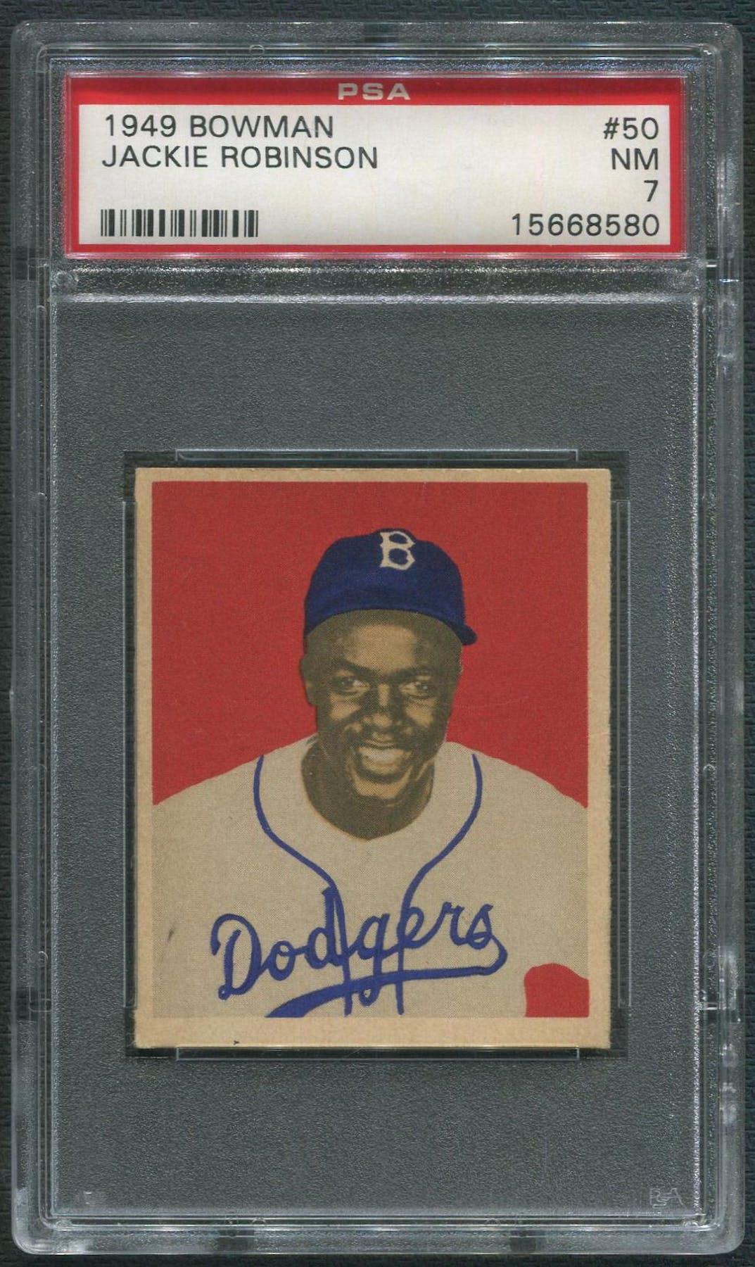 1949 Bowman Baseball 50 Jackie Robinson Rookie Psa 7 Nm