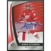 2017/18 SP Game Used #5 Henrik Zetterberg Red Spectrum Patch Auto #1/5