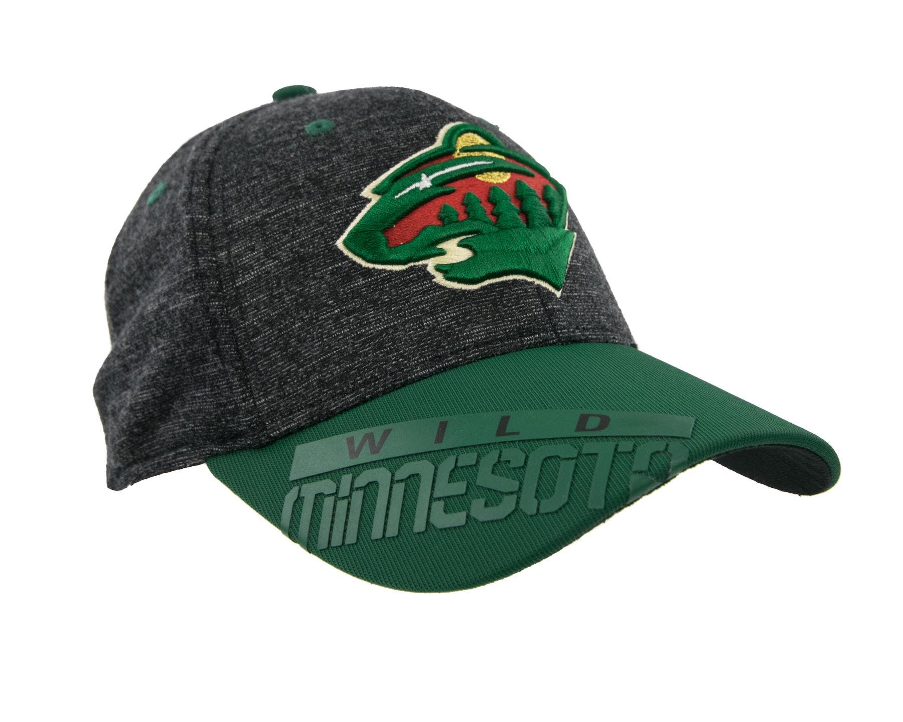 0b60ab95b23 Minnesota Wild Reebok Gray Center Ice Playoff Structured Flex Fit Hat ...