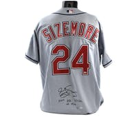 Grady Sizemore UDA Autographed Cleveland Indians Official Gray MLB Jersey w/ 100th HR Ins.