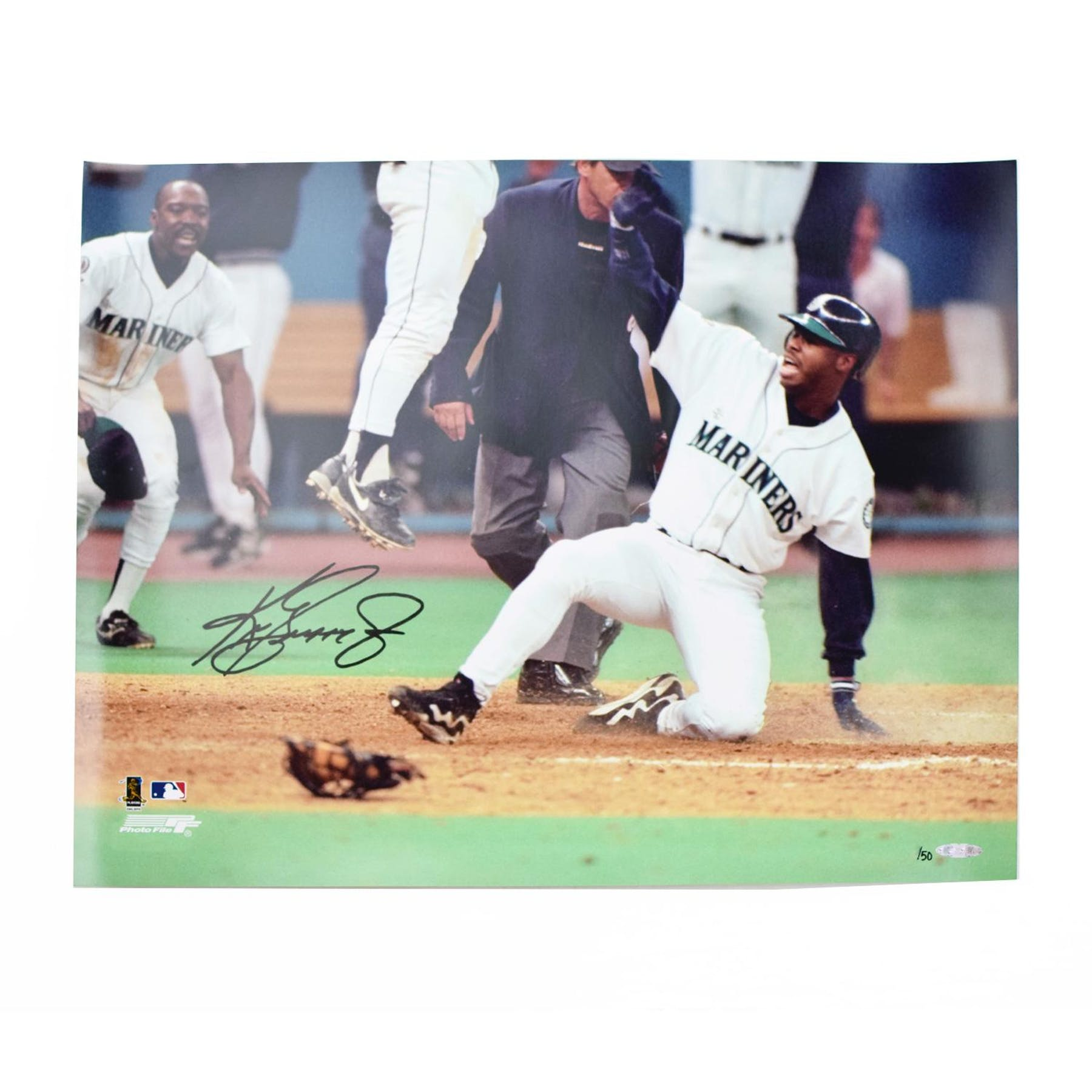996a18e61d Ken Griffey Jr Seatlle Mariners UDA Autographed Sliding 16 x 20 Photo LE  /50 | DA Card World