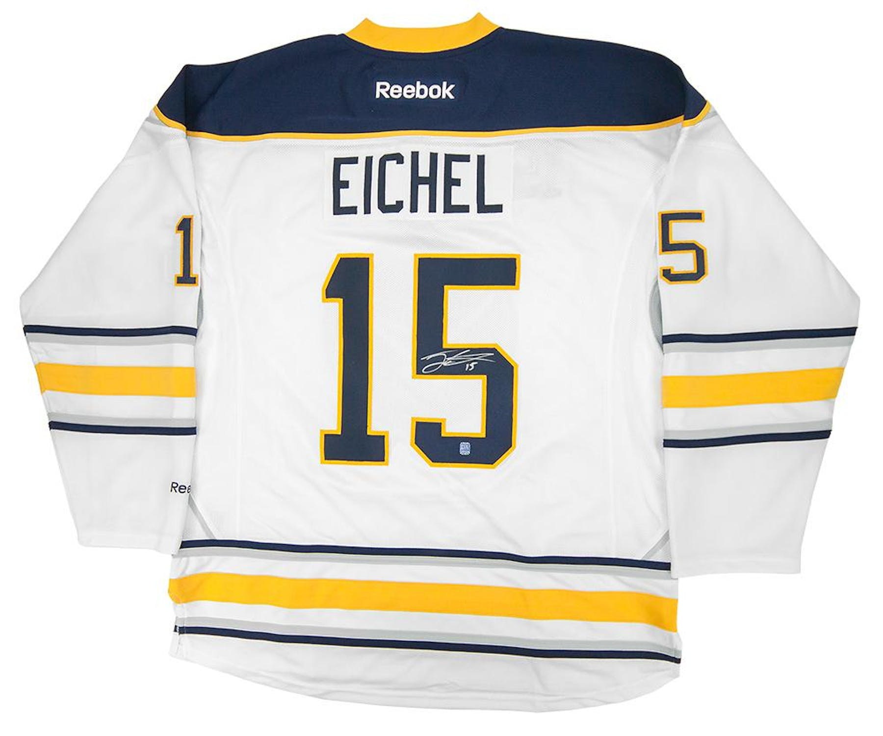 ba7f52c01 Jack Eichel  15 Autographed Buffalo Sabres XL White Hockey Jersey ...