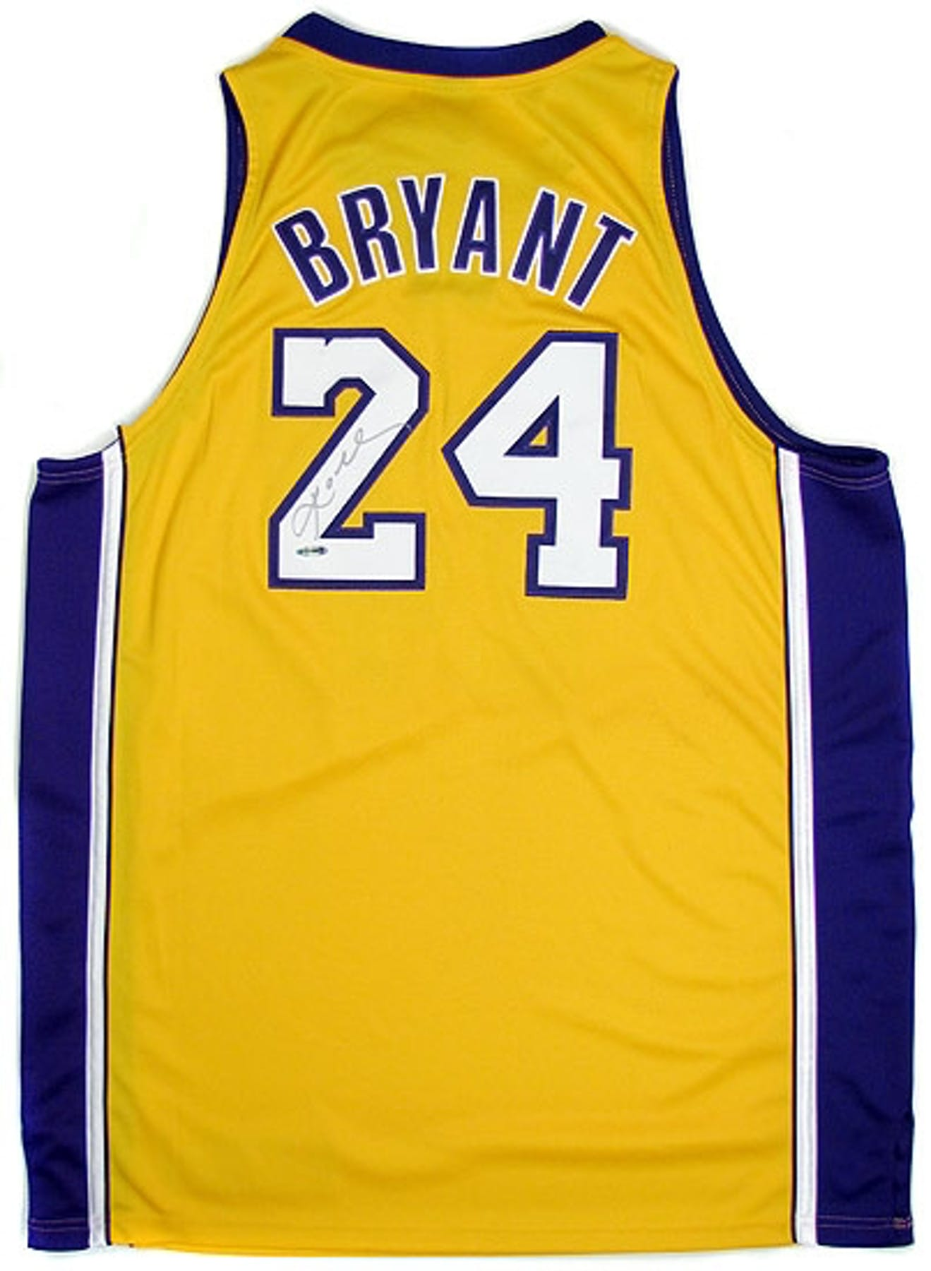 89eab21a1 Kobe Bryant Autographed L.A. Lakers Authentic Yellow Jersey  24 ...