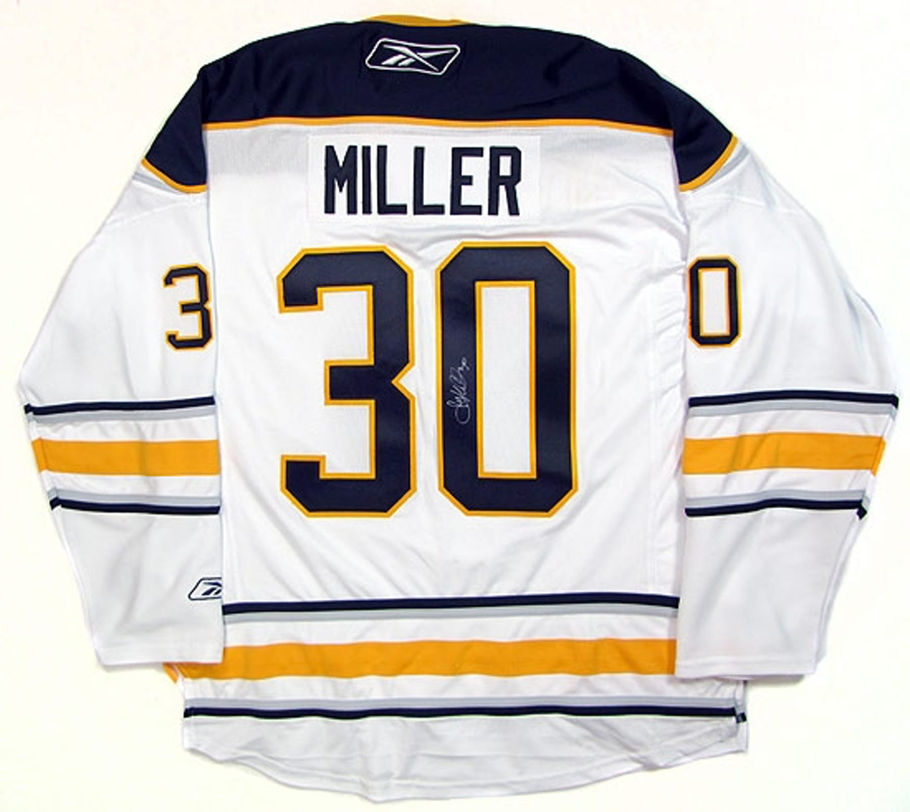 Ryan Miller Autographed Buffalo Sabres White Hockey Jersey (Away ... 70c083ba5c5