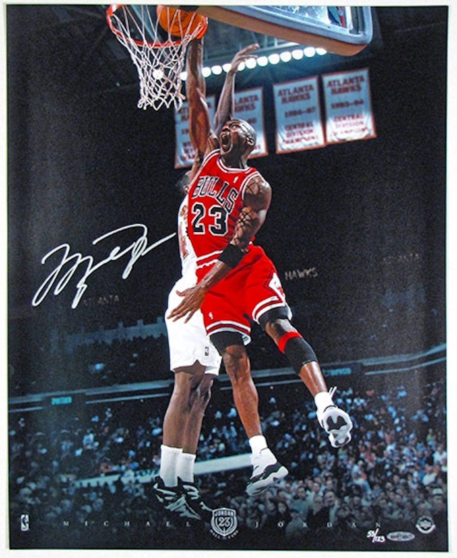 9df7579d2ca Michael Jordan Autographed Chicago Bulls 16x20 Photo   123 (UDA ...