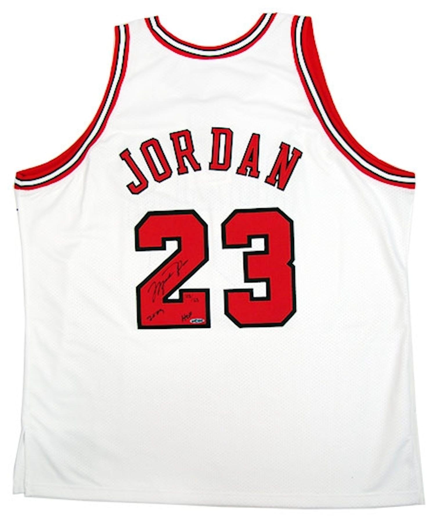 b728d9728e4 Michael Jordan Autographed Chicago Bulls HOF 2009   123 White ...