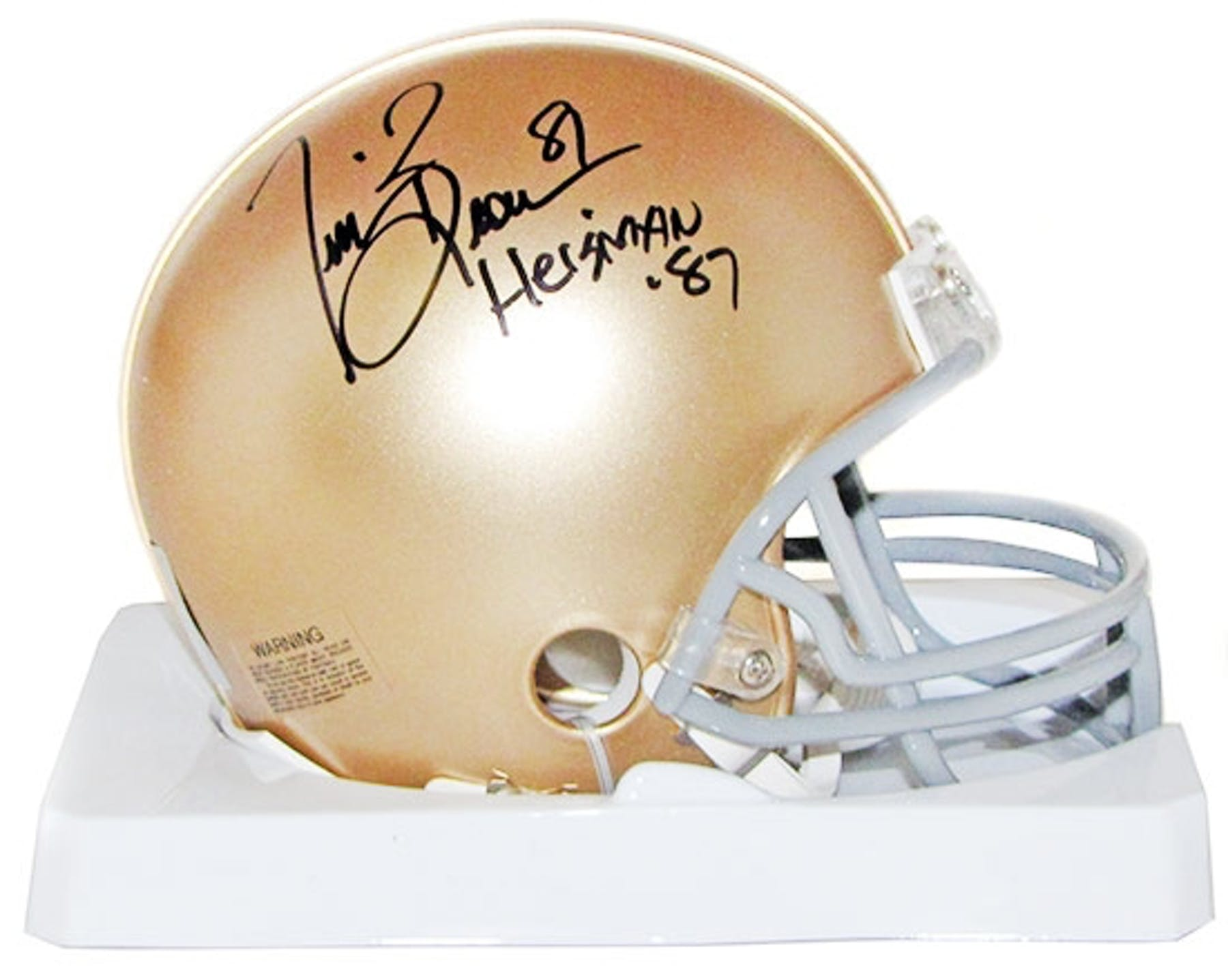 06b04ace571 Tim Brown Autographed Notre Dame Football Mini Helmet