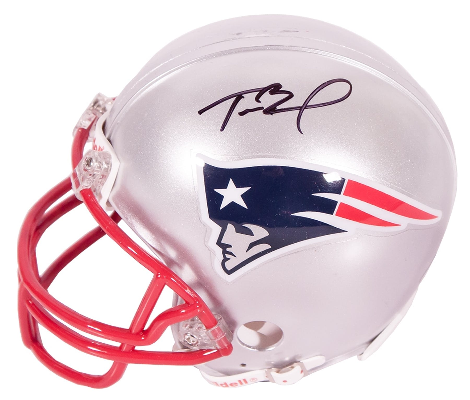 fcefdc9e5 Tom Brady Autographed New England Patriots Mini Helmet (Mounted ...