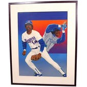 Julio Franco Texas Rangers Upper Deck 24 x 30Framed Original Art